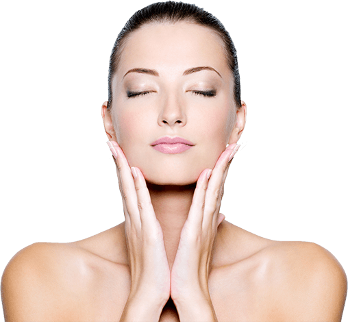 A woman showing off her glowing skin following treatment at Natural Face Aesthetics Skin & Beauty Clinic in Malmesbury, Wiltshire.
