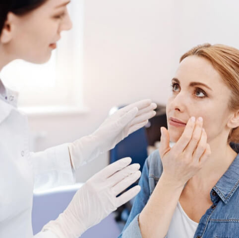 A woman receiving micro-needling treatmentl from Natural Face Aesthetics in Malmesbury, Wiltshire.